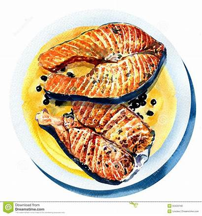 Fish Grilled Salmon Fried Clipart Pepper Plate