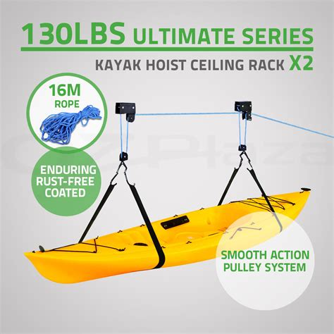 kayak hoist ceiling rack 2x kayak hoist bike lift pulley system garage ceiling