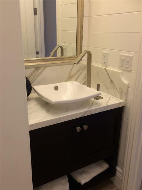 Powder room with Kohler Vessel sink, kohler faucet, powder