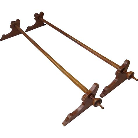 l shaped curtain rod set of two walnut wood curtain rods brackets and finials