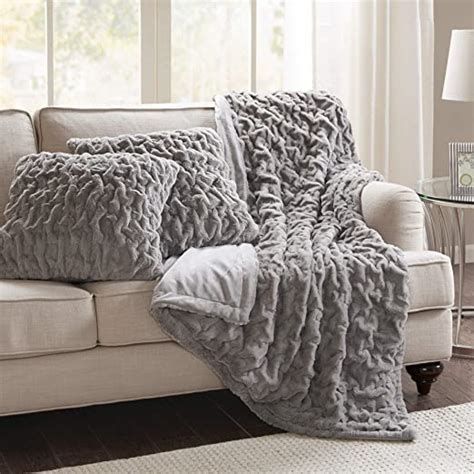 ruched plush faux spaces fur piece flu blanket comfort throw ultra soft