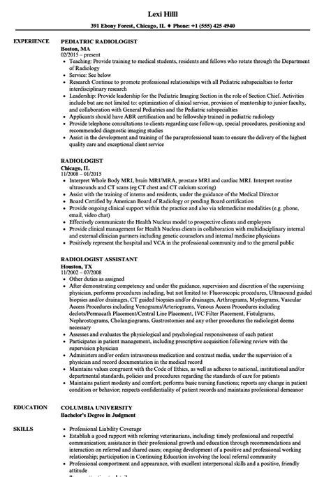 Radiologist Resume by Radiologist Resume Sles Velvet