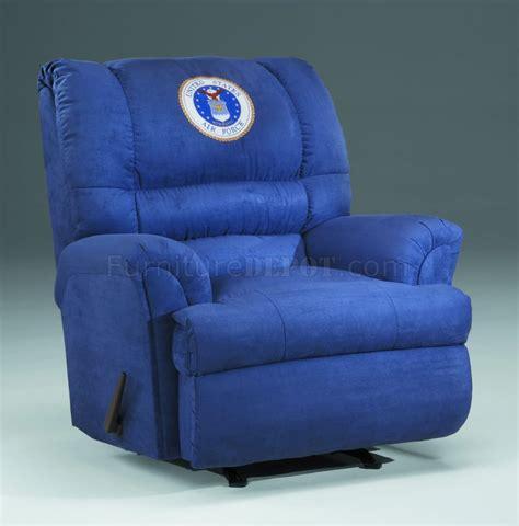 blue fabric modern rocker recliner w us air emblem