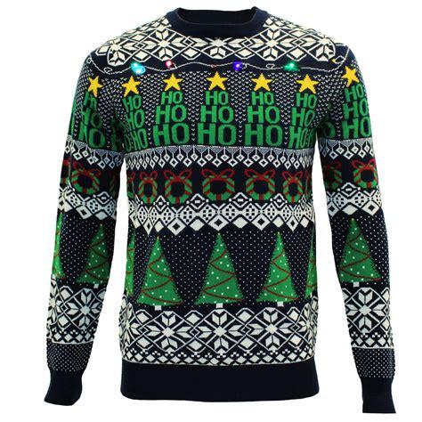 mens novelty light up christmas tree pullover jumper
