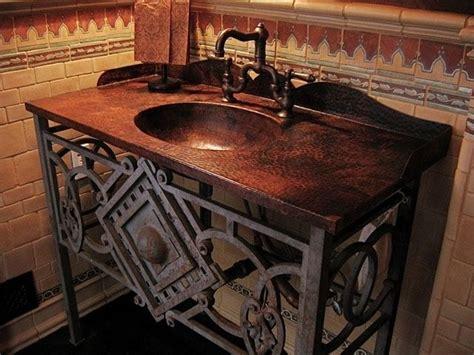 custom bathroom vanity tops with sinks custom hammered copper vanity top w integrated sink and