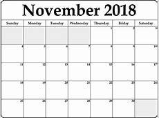 Free Blank Calendar November 2018 – Printable 2018