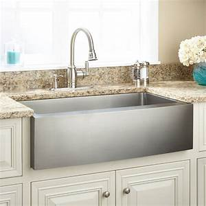 36quot Optimum Stainless Steel Farmhouse Sink Curved Apron
