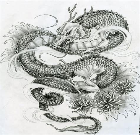 wise grey asian dragon  small peonies tattoo design