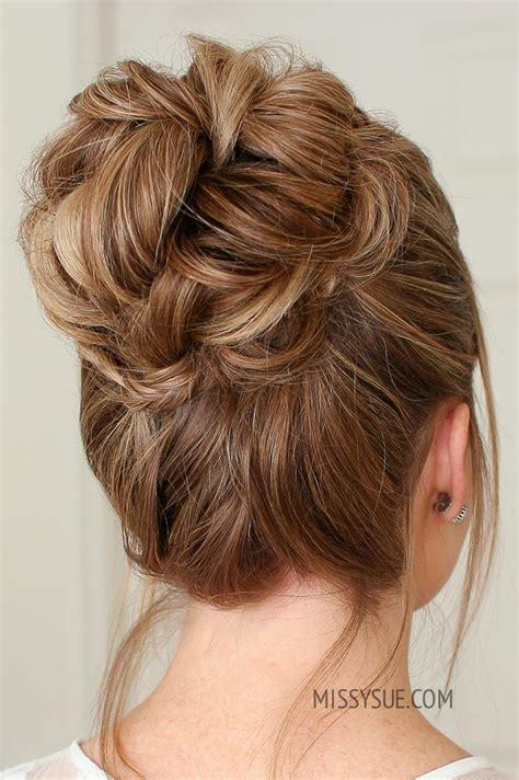 mini braid wrapped high bun hair tutorials high bun