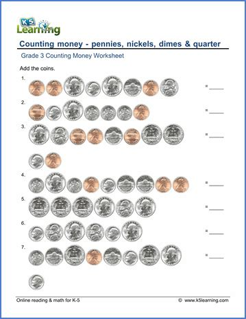 Grade 3 Math Worksheets Counting Coins  K5 Learning