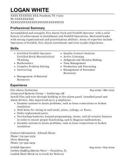 simplex grinnell alarm technician resume sle l and