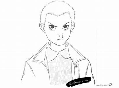 Stranger Coloring Eleven Sketch Printable Bettercoloring Characters