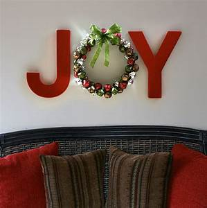joy holiday wall letters with jingle bell wreath diy With giant joy letters