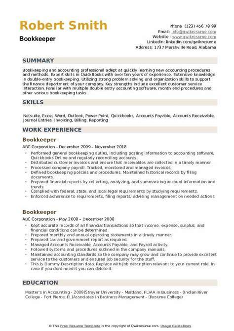 Bookeeper Resume by Bookkeeper Resume Sles Qwikresume