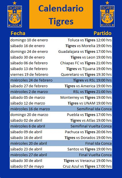 calendario de tigres  calendar template