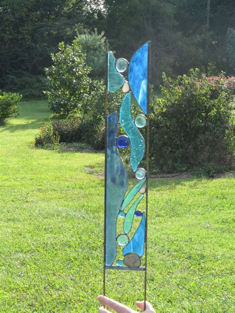 stained glass projects for outdoors stained glass garden stake mountain stream yard art garden panel blue glass river rocks