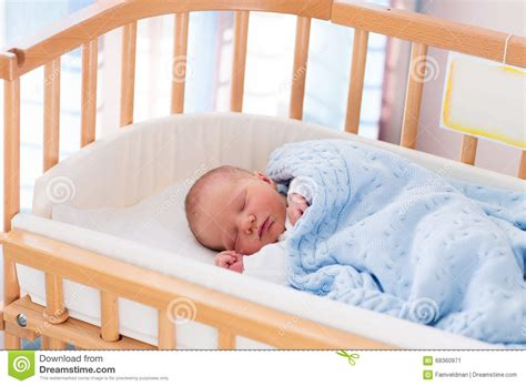 Newborn Baby Boy In Hospital Cot Stock Image Image Of