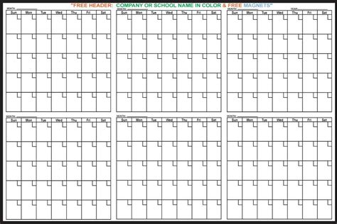 Conflict Calendar Template by 6 Month Magnetic Erase Calendar