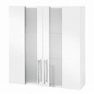 meuble haut de salle de bain 2 portes a suspendre blanc With meuble haut salle de bain 3 suisses