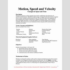 16 Best Images Of Speed And Motion Worksheet  Speed And Velocity Worksheets Middle School