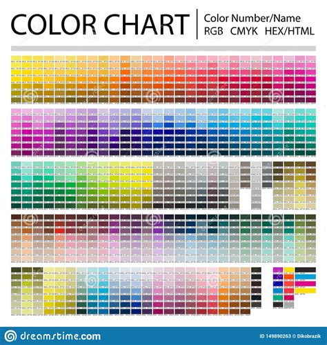 color chart print test page color numbers or names rgb