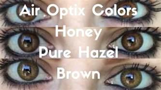 Light Hazel Contacts by Air Optix Colors Honey Pure Hazel Brown Youtube