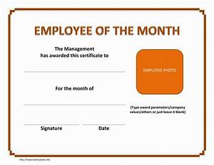 employee of the month certificate template with picture - employee of the month certificate
