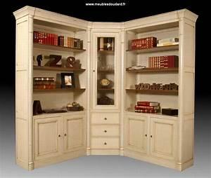 Bibliothèque En Pin Brut : biblioth que d 39 angle modulable 3 l ments ivoire ~ Edinachiropracticcenter.com Idées de Décoration