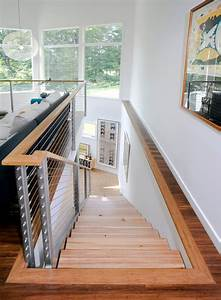Modern Stair Treads with Vaulted Ceiling Split Level Tile