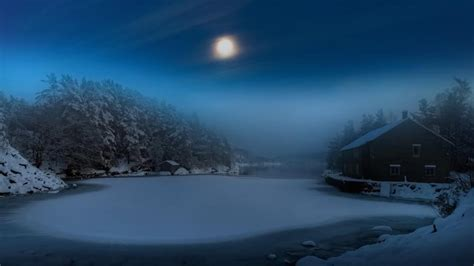 frozen lake   moonlight hd wallpaper wallpaper