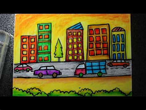 menggambar pemandangan kota besar versi cepat youtube