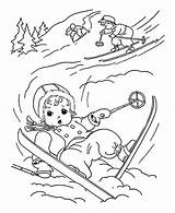 Coloring Winter Skiing While Kid Down Slip Pages sketch template
