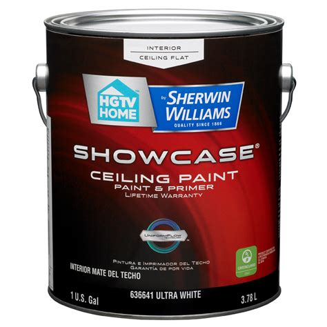 paint and primer in one shop hgtv home by sherwin williams showcase white flat latex interior paint and primer in one
