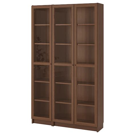Ikea Bookcases With Glass Doors by Billy Oxberg Bookcase With Glass Doors Brown Ash
