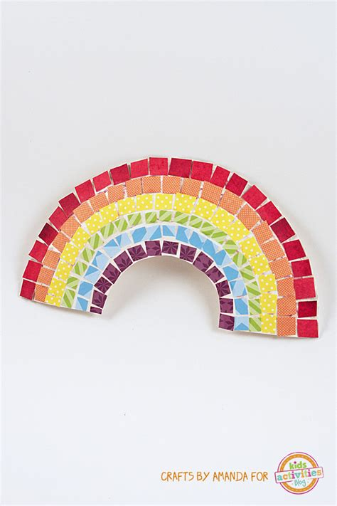 mosaic rainbow craft   paper plate