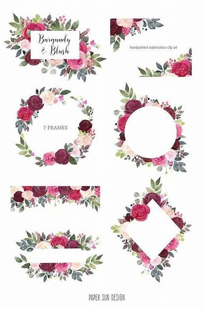 Burgundy Blush Floral Clipart Watercolor Flower Frames