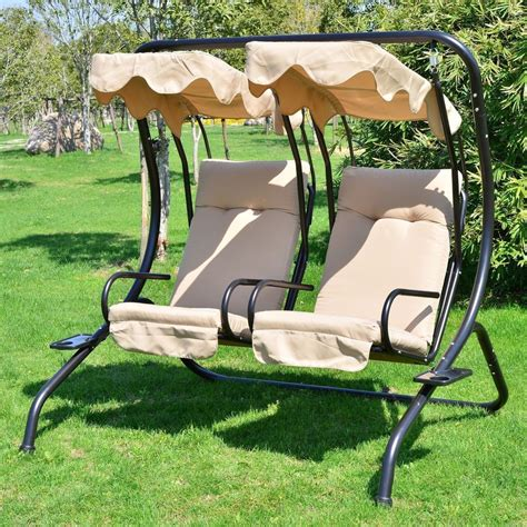 2 Seater Hammock Swing by Outdoor Patio 2 Person Covered Swing Chair Seat Porch