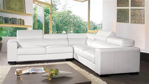 mobilier de canap canap angle en cuir vachette blanc