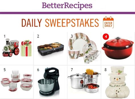 recipe daily sweepstakes better recipes daily sweepstakes calendar sweepstakesbible