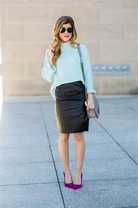Black Leather Pencil Skirt Outfit // How To Style a Leather Pencil Skirt