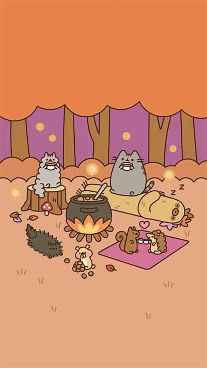 Pusheen Fall Wallpapers Autumn Camping Kawaii Ios