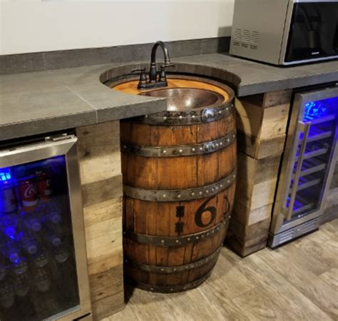Whiskey Barrel Sink, Hammered Copper, Rustic Antique