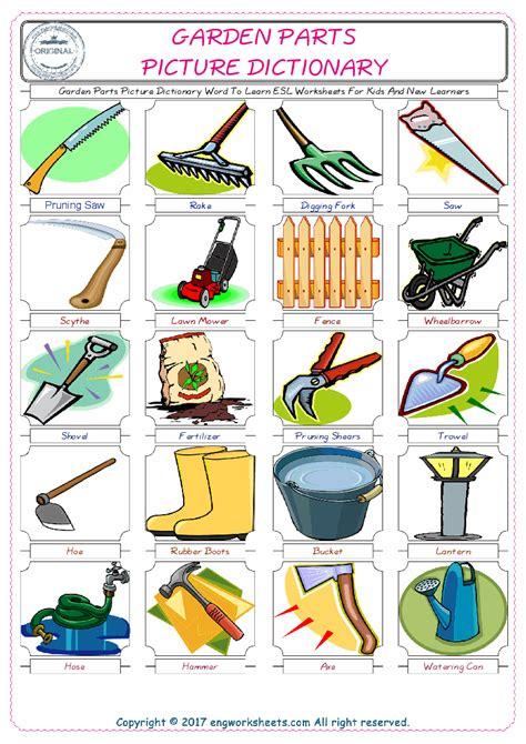 garden parts esl printable english vocabulary worksheets