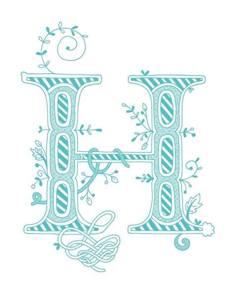 hand drawn monogrammed print   letter