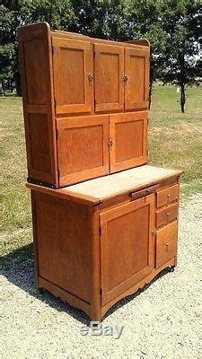 antique  hoosier oak kitchen cabinet  sugar bin