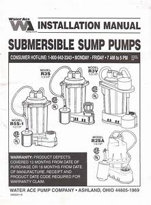 Water Ace Submersible Sump Pump Installation Manual