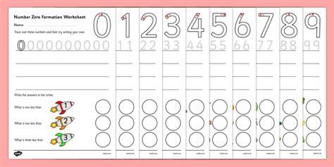 number formation worksheets 0 9 education home school