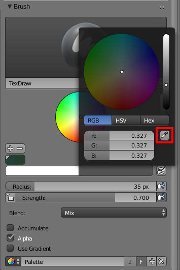 is there colour picker in texture paint mode blender