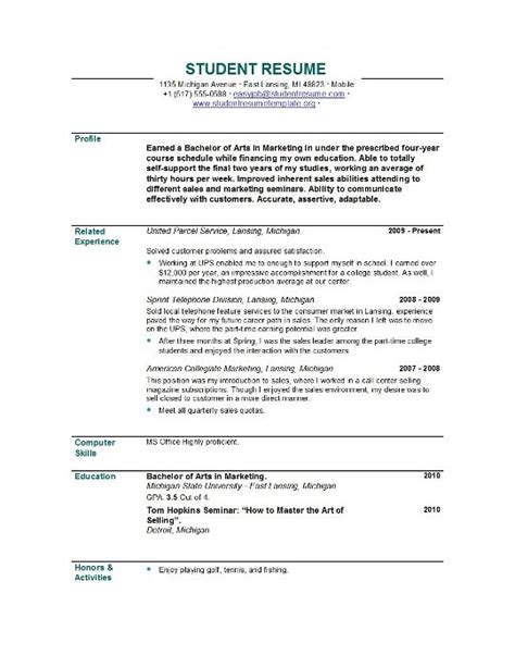 Resume Template For Student by Sle Student Resume