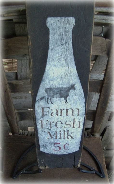 rustic farm fresh milk hand painted barn wood sign